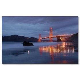 Αφίσα (γέφυρα, νερό, νύχτα, φώτα, σύννεφα)